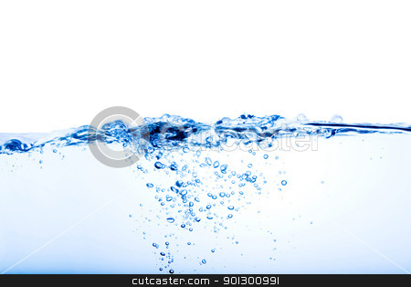 Water Splash stock photo, Close up view of a water wave and bubbles by Tyler Olson