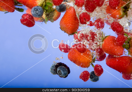 Fruit Background stock photo, Fruit splashing in water background - shallow depth of field by Tyler Olson