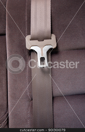 Seatbelt in Car stock photo, A seatbelt in a car with cloth seats by Tyler Olson