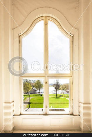 Arched Window stock photo, An old arched window view out to a garden by Tyler Olson