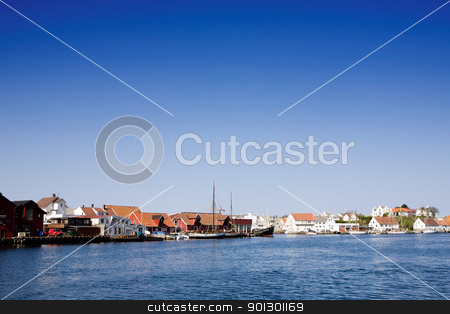Norway Coast Town stock photo, A norwegian costal town by Tyler Olson