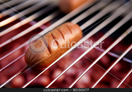 Hotdog on Grill stock photo, A hotdog on a grill  by Tyler Olson