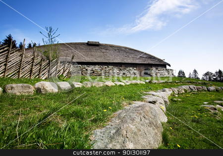 Viking Building stock photo, A viking longhouse on the coast of Norway by Tyler Olson