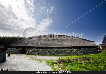 Viking Long House stock photo, A viking longhouse on the coast of Norway by Tyler Olson