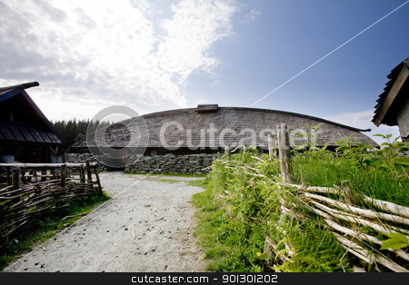 Viking Farm stock photo, An old norwegian viking farm with a long house by Tyler Olson