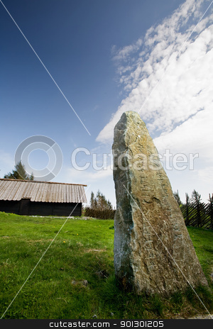 Viking Runes stock photo, Viking runes inscribed in a stone by Tyler Olson