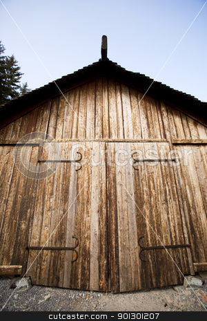 Viking Storage Building stock photo, A viking boat house - for storage of goods / boats and weapons. by Tyler Olson