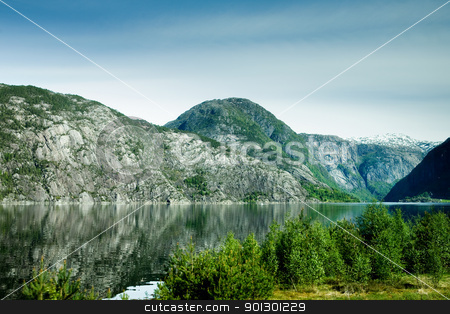 Fjord stock photo, A fjord and rural norway with a blue sky by Tyler Olson