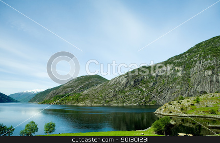 Rural Norway stock photo, A fjord and rural norway with a blue sky by Tyler Olson