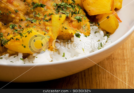 Indian Food stock photo, Indian food macro - potato curry with lentils by Tyler Olson