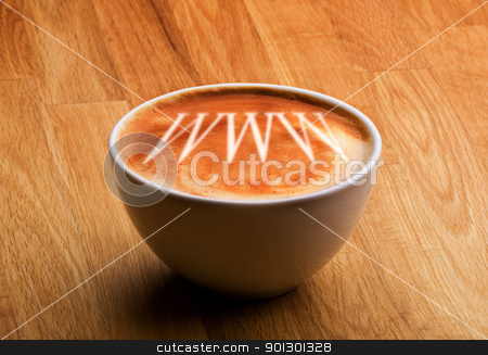 Internet Cafe Concept stock photo, A cappucino with www in the froth by Tyler Olson