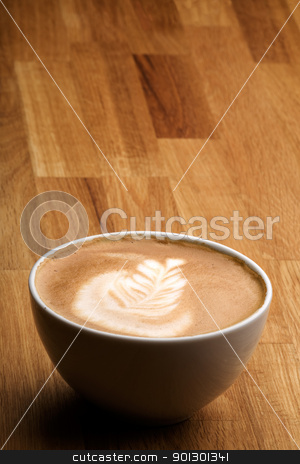 Cappuccino stock photo, Cappuccino with latte art and copy space room by Tyler Olson