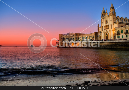 St. Julians Bay - Malta stock photo, St Julians Bay in Malta by Tyler Olson