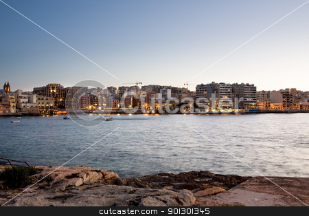 Malta stock photo, Saint Julians Bay in Malta by Tyler Olson