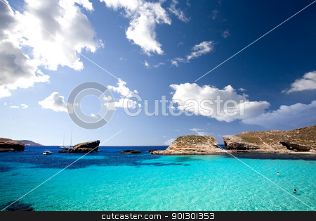 Blue Lagoon stock photo, Blue lagoon in Malta on the island of Comino by Tyler Olson