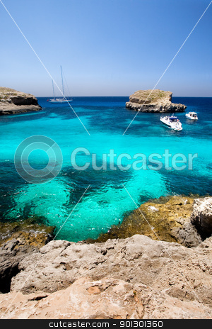 Island Paradise stock photo, Island Paradise on Comino in malta - the blue lagoon by Tyler Olson