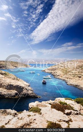 Blue Lagoon stock photo, The  Blue Lagoon in Comino, Malta by Tyler Olson