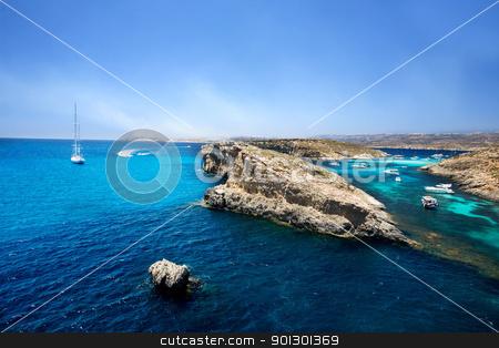Blue Lagoon, Comino stock photo, The  Blue Lagoon in Comino, Malta by Tyler Olson