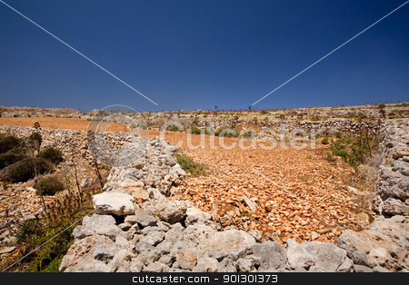 Rock field stock photo, Farmland filled with rocks and red soil by Tyler Olson