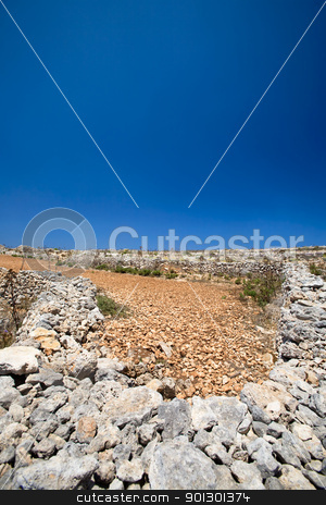 Rocky landscape stock photo, Farmland filled with rocks and red soil by Tyler Olson