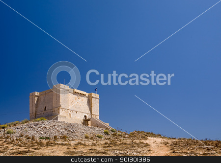 Fortess on Hill stock photo, St marija tower on comino island, Malta by Tyler Olson