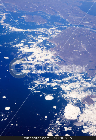 Glacier Melt stock photo, An aerial view of a melting glacier in the ocean. by Tyler Olson