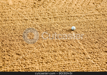 Golf Sand Trap stock photo, A golf ball in a sand trap by Tyler Olson