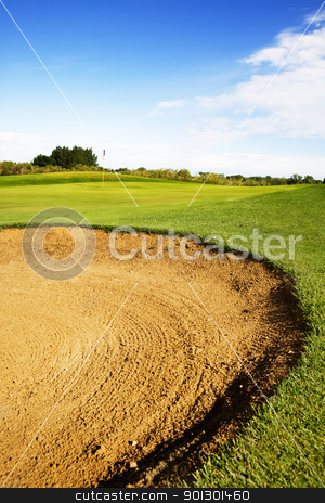 Sand Trap stock photo, A golf sand trap on a beautiful summer day by Tyler Olson