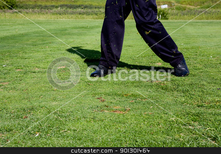 Golf Swing stock photo, A golfer who has just swung at a golf ball by Tyler Olson