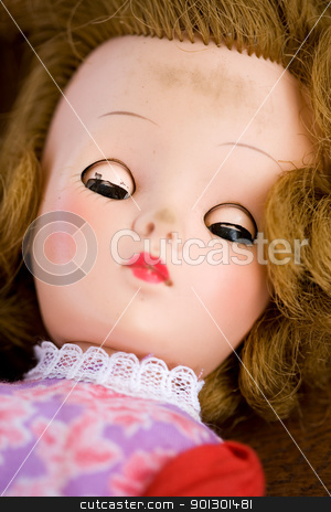 Doll Macro stock photo, A close up of a doll face - focus on the eyes by Tyler Olson