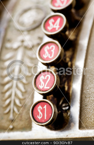 One Dollar Button stock photo, A one dollar button on a vintage cash register by Tyler Olson