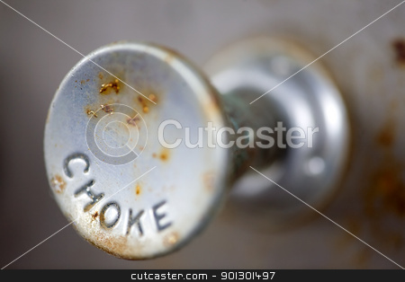Choke Knob stock photo, A steampunk style retro choke knob - shallow depth of field by Tyler Olson