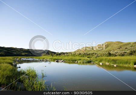Creek Hills stock photo, Creek hill in beautiful Saskatchewan nature by Tyler Olson