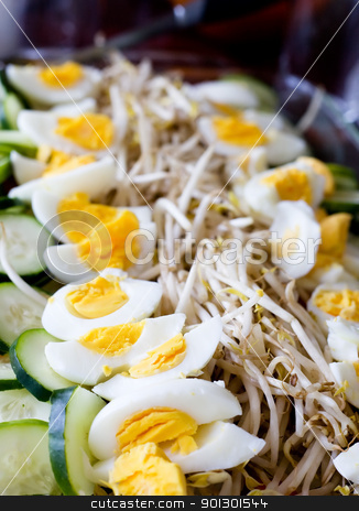 Indonessian Food stock photo, An indonessian traditional meal, gado gado, vegetable salad with peanut sauce by Tyler Olson
