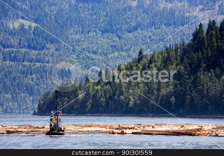 Coastal Logging stock photo, A logging boat on the coast by Tyler Olson