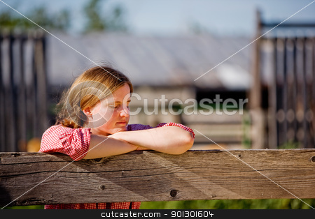 Country Farm Girl stock photo, A country farm girl taking a break by Tyler Olson
