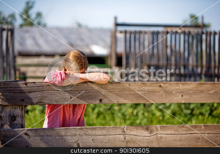 Farm Girl stock photo, A farm girl resting on the fence by Tyler Olson
