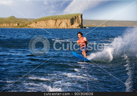 Water Skier stock photo, A man water skiing on a lake by Tyler Olson