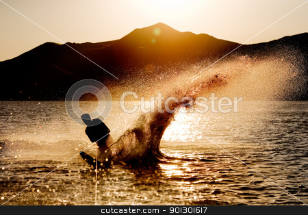 Water Ski Silhouette stock photo, Silhouette of a water skier by Tyler Olson