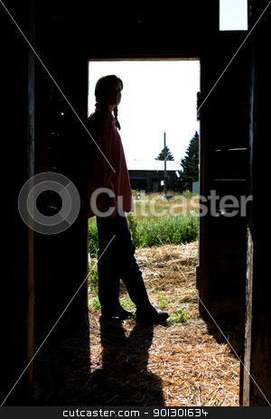 Farm Girl Silhouette stock photo, A farm girl standing in a doorway of a barn by Tyler Olson