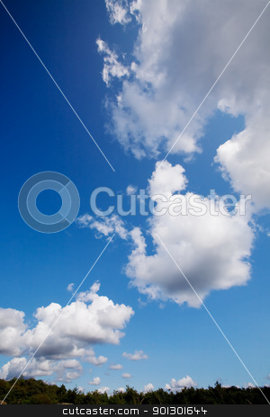 Cloud Background stock photo, A cloud background with cumulus clouds by Tyler Olson