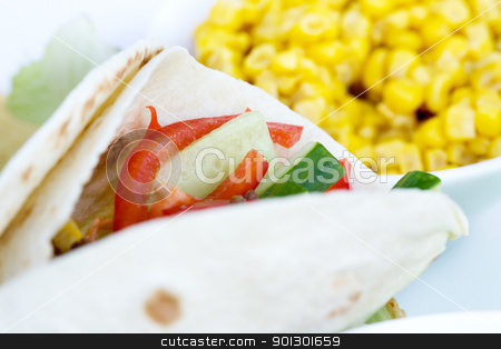 Taco Detail stock photo, A macro of a prepared taco with ingredients in th background by Tyler Olson