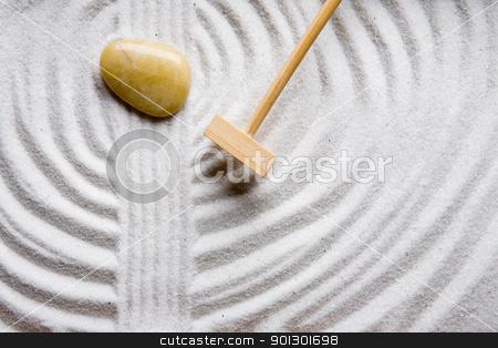 Rake Rock Garden stock photo, A rake in a zen rock garden, preparing the sand by Tyler Olson