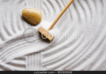 Rock Zen Garden stock photo, A stone in a Oriental style rock garden by Tyler Olson