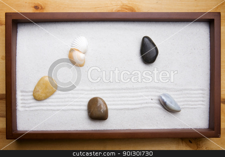 Zen Rock Garden stock photo, Miniature Zen rock garden background by Tyler Olson