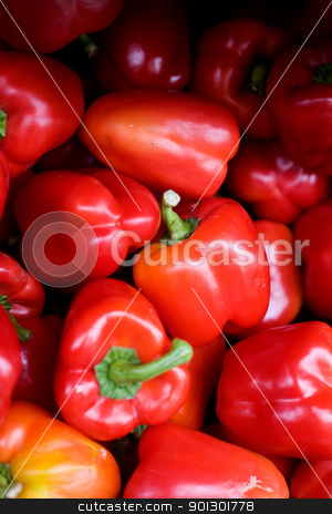 Red Pepper stock photo, A bluk bin of peppers at an outdoor market by Tyler Olson