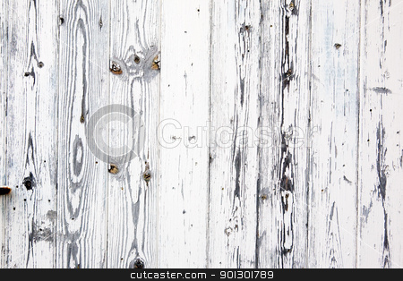 Weathered Wood Background stock photo, Painted white wood weathered through the years by Tyler Olson