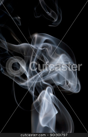 Smoke Background stock photo, A stream of smoke on a black background by Tyler Olson