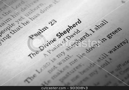 Psalms 23 stock photo, A macro detail of Psalms 23 in the Christian Bible by Tyler Olson