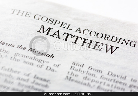 Gospel of Mathew stock photo, The Gospel According to Mathew, macro detail of the first book of the Christian New Testament by Tyler Olson